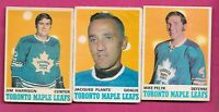 1970-71 OPC LEAFS JACQUES PLANTE + PELYK RC + HARRISON RC  CARD (INV# C4309)