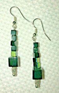 Green Beads Earrings Drop Dangle Handmade