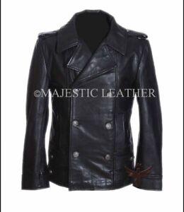 Men's German Black Naval Military Analine Cowhide Real Leather Jacket/Coat