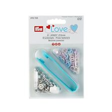 Jersey Druckknöpfe love 8 mm 21 Stück Metall hell blau flieder creme Prym 390700
