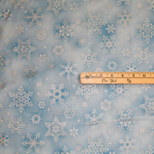 Holiday Flourish Sky Snowflakes Metallic Christmas Fabric 1/2 Yard  #19920-63