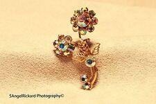 Vintage Aurora Borealis Rhinestone Flower Brooch