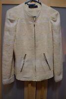 Zara Woman White Cream Zippered Blazer Jacket