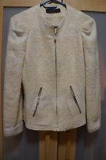Zara Woman White Cream Zippered Blazer Jacket
