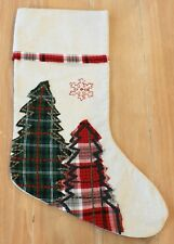 New Pottery Barn PLAID CHRISTMAS TREE NOSTALGIC Christmas Holiday Stocking