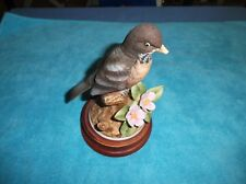 Vintage Robin by Andrea Porcelain Figurine Andrea by Sadek #9386 with Wood Base