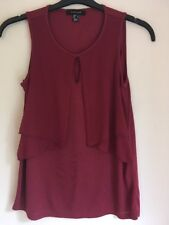 Ladies Burgundy And Net Blouse Top By Primark Size 8