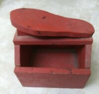 Vintage Rustic Primitive Painted Wood Homemade Shoeshine Box Stand FARMHOUSE