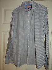 THOMAS PINK (INFORMAL) FAB CLASSIC GREY STRIPED DRESS/WORK SHIRT UK 15 EU 38