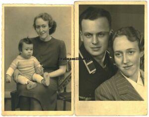 2x Orig. Foto AK Portrait Obermaat U-Boot U-620 KIA + Witwe Kind in HAMBURG 1942
