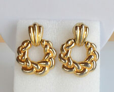 vintage door knocker endless woven rope statement pierced earrings gold tone