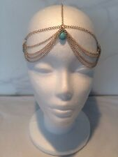 VINTAGE ART DECO BLUE GOLD CHAIN HEADBAND HEADPIECE INDIAN WEDDING BOHO GRECIAN