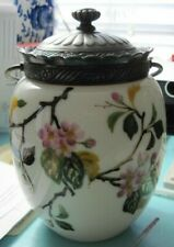 ANTIQUE BISCUIT JAR/BARREL - OPAQUE GLASS - HAND PAINTED FLORAL/SILVER TOP