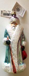 Vintage Christopher Radko BLUE BELSNICKLE SANTA Glass Christmas Tree ORNAMENT