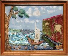 "Framed Ocean Sail Boat Ribbon Embroidery Beadwork Cat Eyes Seashells OOAK 23"" 3D"
