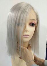 "12"" 7A Brazilian Platinum White Silk Top 150% Density Straight Full Lace Wig"