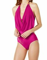 Bar III Draped Monokini Swimsuit One-Piece Size XS Plunging Halter Orchid NWT