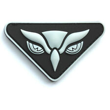 OWL HEAD PVC TACTICAL INTEL MILITARY MORALE ISAF MILSPEC GLOW WHITE HOOK PATCH