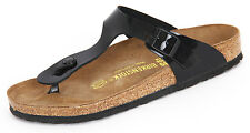 *NEW* GIZEH 37 M SIZE 6-6.5 US WOMENS {BLACK} PATENT LACQUER SANDALS BIRKENSTOCK