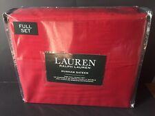 Ralph Lauren 4 PC Dunham Sateen Cotton Sheet Set Solid Admiral Red Full NEW