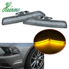 2X Front Side Marker Lamps Clear Lens Amber LED Light For 2010-2014 Ford Mustang