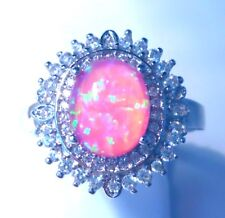 """GORGEOUS PINK  FIRE OPAL/WHITE TOPAZ  RING UK Size """"T"""" US 10.5"""