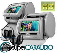 """Reposacabezas COCHE 7"""" SONY HD DVD SD USB Transmisor FM Juegos GRIS"""