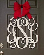 Wooden MONOGRAM door hanger/wreath/Initial/burlap bow/decor/burlap bow/chevron