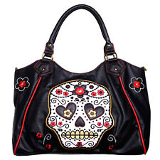 Sugar Candy Skull Tattoo Shoulder Bag Handbag Faux Leather Goth Rockabilly BLACK