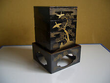 A nest of boxes Japanese antique vintage birds cloud tree black and gold #11251