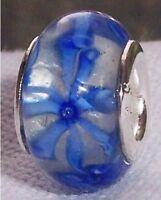 Clear Blue Pattern Lampwork Murano Glass Bead for Silver European Charm Bracelet