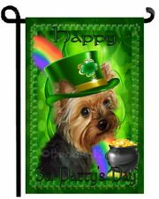 YORKIE St. Patricks Day painting GARDEN FLAG dog YORKSHIRE TERRIER Saint Patty's