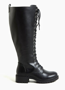 TORRID Black Lace Up Knee High Faux Leather Combat Boots Size 10 W NIB