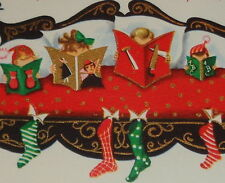 """Vintage 1958 Christmas card, family of 4 reading in bed, four of us, 5 1/4"""" used"""