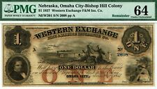 $1 Nebraska Western Exchange PMG 64 Choice Uncirculated. Indians.
