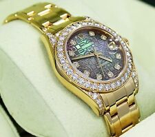 Rolex Masterpiece Pearlmaster 81158 Crown Collect 34mm 18K Y Gold Fact Diamonds