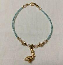 "flowers blue glass multi-colored crystal Handmade bracelet/anklet 7 1/2"" Pelican"