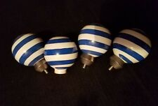 lot of 4 knobs Dr. Seuss style blue and white pinstripe art deco FREE SHIPPING