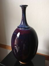 CERAMIC MULTI COLORED TALL VASE WITH GREAT GLAZING PALETTE