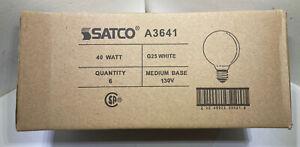 Lot Of 6 Satco A3641 40 Watt Light Bulbs G25 Globe White E26 Base Track Lights