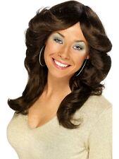 Ladies 70s Brown Disco Dancing Diva Flick Wig Fancy Dress Costume Accessory