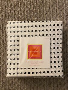 Isaac Mizrahi TWIN FLAT SHEET Target ~ White Black Polka Dots ~ Cotton