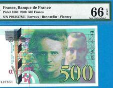 FRANCE-500 FRANCS-2000-PICK 160d **PMG 66 EPQ GEM UNC**