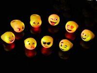 20 PCS Light-Up Emoji Jelly Rings Emoticon Flashing LED Emotions Favors Blinking