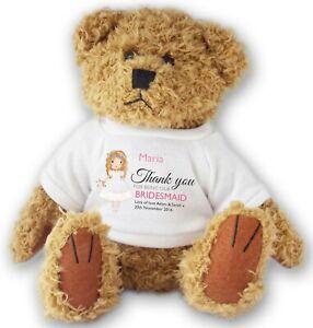 Personalised BRIDESMAID wedding teddy bear thank you gift - allted14