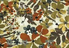Robert Allen Fabric Cream Brown Cinnamon Blue Floral Outdoor Drapery Upholstery