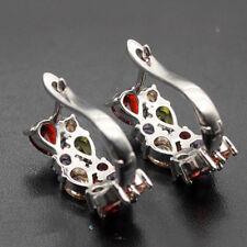 Women Ladies Earrings Stud Ring Amethyst Garnet Peridot Colored Stone Decor E7CX