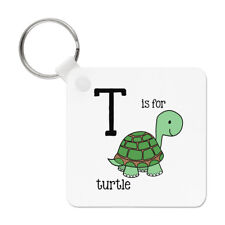 Letter T Is For Turtle Keyring Key Chain - Alphabet Cute Funny
