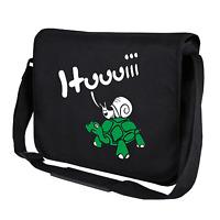 Hui Schnecke reitet Schildkröte Fun Comic Motiv Umhängetasche Messenger Bag