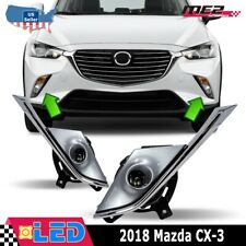 Fits 16-19 Mazda CX-3 Clear Lens PAIR LED Replacement Fog Light Lamps+Wirin Kit